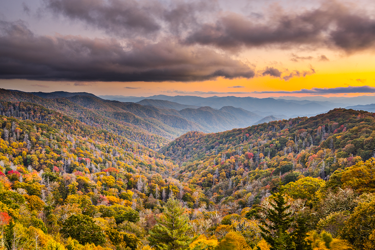 scenic view of the Smoky Mountains in the Fall