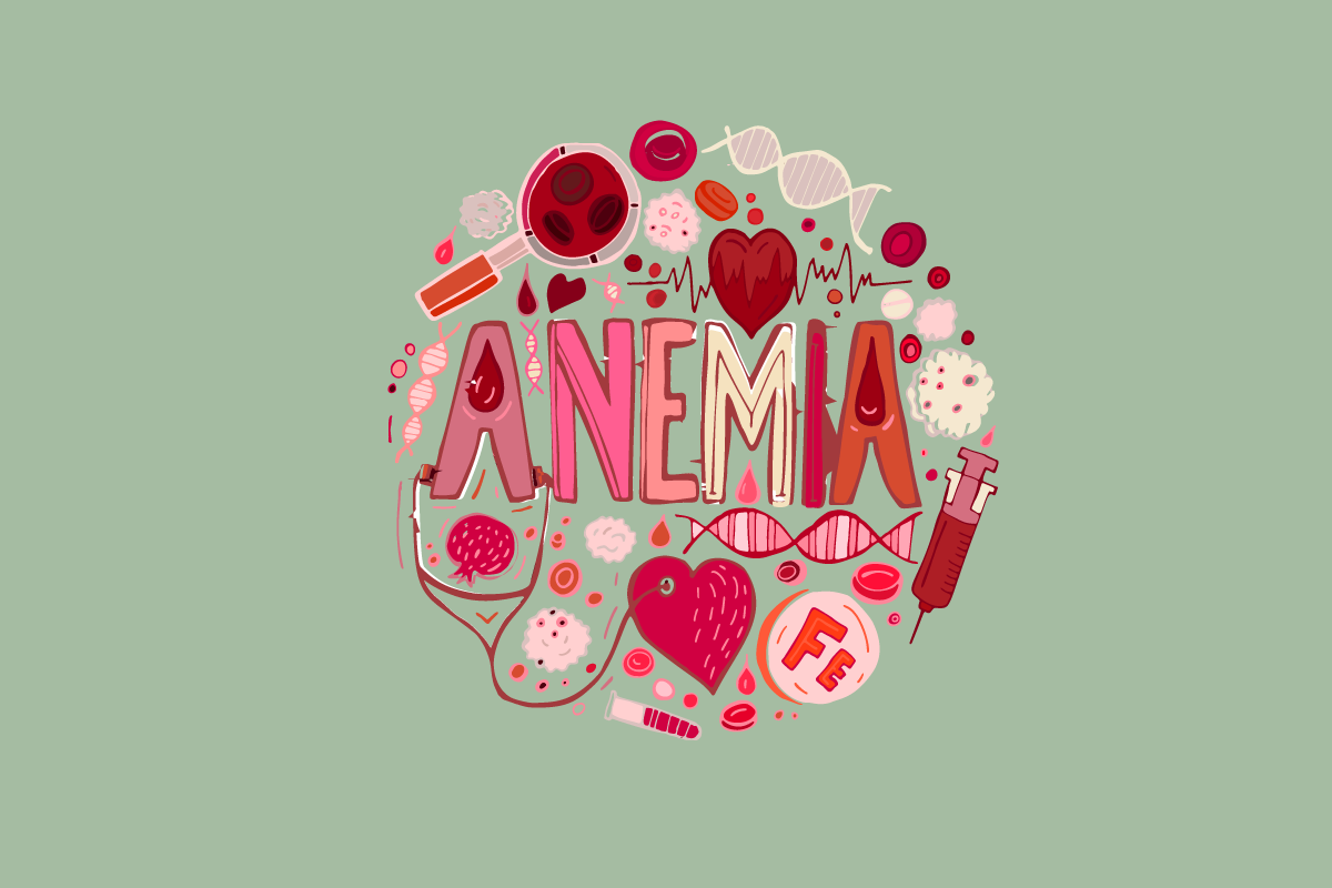 illustration of things related to anemia